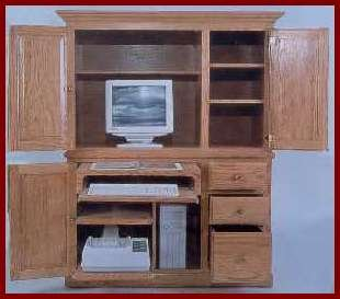 Deluxe Computer Center-Oak (Dark Stain)
