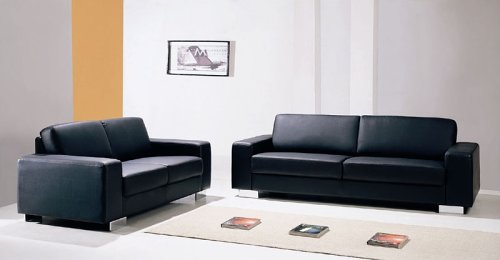 Modern Contemprorary Black Leather Sofa Loveseat Living Room Set