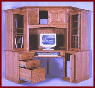 6 PC Corner Computer Center-Oak (Light Stain)
