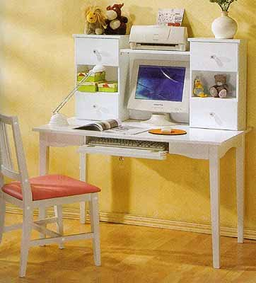 Princess White Finish Desk With Hutch And Chair