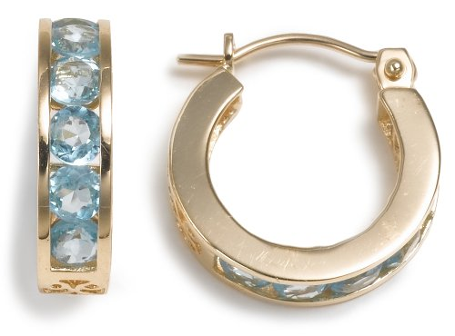 14k Yellow Gold Channel Set Round Blue Topaz Hoop Earrings