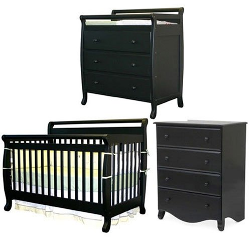 DaVinci Emily Ebony Convertible Baby Crib and 3 Drawer Changer and 4 Drawer Dresser Set