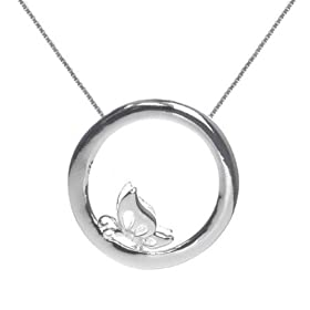 Amazon.com: Sterling Silver Open Circle with Center Butterfly Pendant on 16+2in Box Chain Necklace: Jewelry & Watches: SkyeSterling from amazon.com