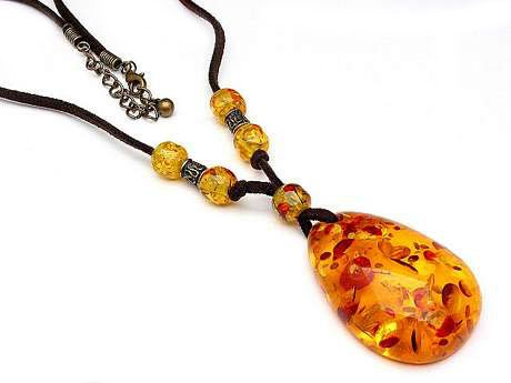 Hippie Style Bohemian 18 to 20 Suede Necklace with Huge Faux Amber Stone Pendant