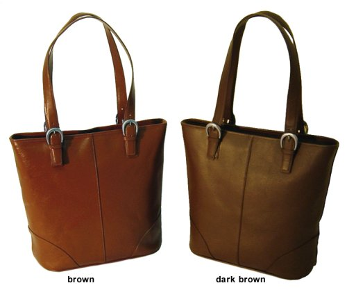 Elegant Boxy Leather Tote - Brown