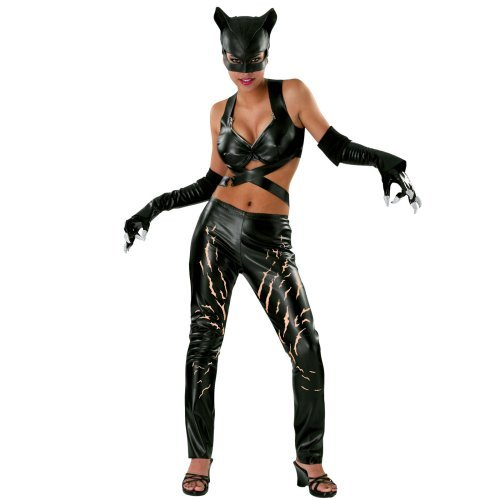 Sexy girl in Catwoman Deluxe Adult Halloween Costume
