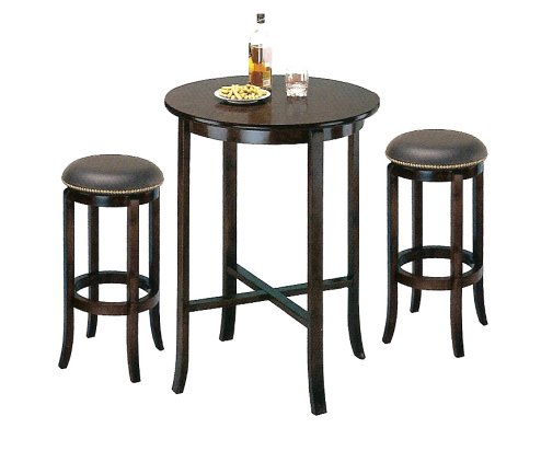 York Espresso Pub Table Set with 2 Leather Nailhead Swivel Bar Stools
