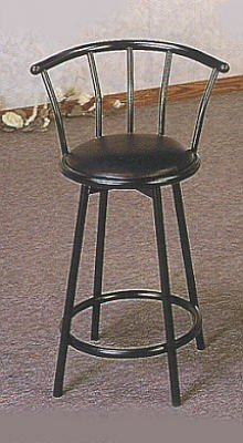 Set of 2 Satin Black Finish Metal Swivel Bar Stool - 24 inch H