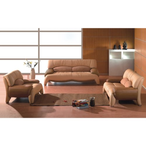 Modern Leather Beige/Brown 3pc Living Room Set, (FREE SHIPPING)