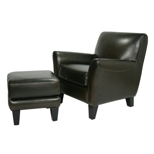 Loftgoods Cary Leather Chair with Bonus Ottoman, Black/Brown