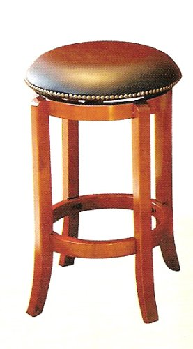 24 inch H Neilhead Black Leather Swilvel Barstool in Cherry Solid Wood Finish