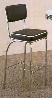 Set of 2 50's Black Retro Nostalgic Style Bar Chairs/Stools 