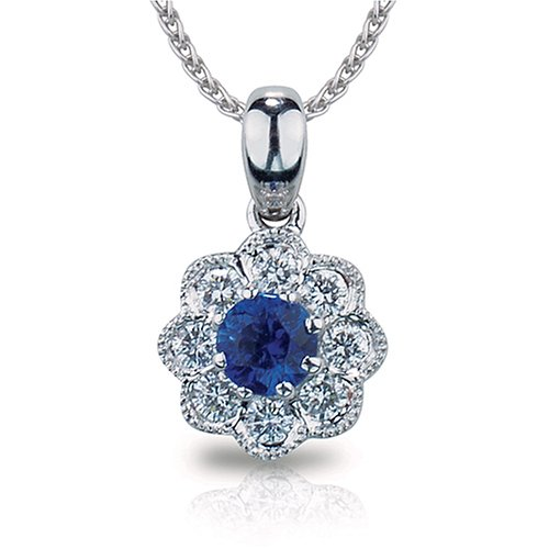 14k White Gold Sapphire and Diamond Pendant .21ctw (SI1/2 H-I)