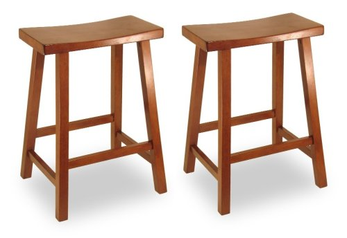 Winsome 94184 walnut Beechwood SET OF 2 KITCHEN STOOL 24 INCH SADDLE SEAT
