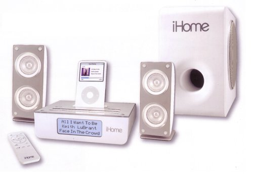 iHome iH52W Bookshelf System for iPods with AM/FM Radio (White)