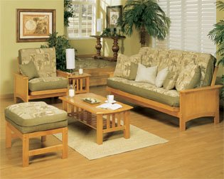 Cottage Grove 5 Piece Sofa Bed Living Room Set - Golden Oak