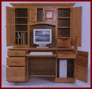 Kneehole Desk With Hutch-Cherry (Natural Finish) 