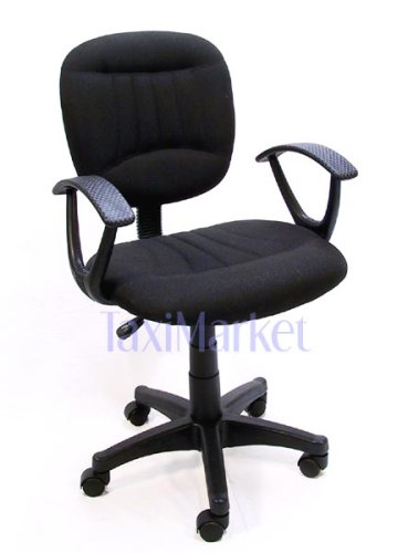 Black Fabric Office Chair w/Arms, Gas Lift and Great Student or Computer Chair