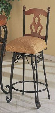 Set of 2 Traditional Style Metal and Wood Swivel Bar Stools