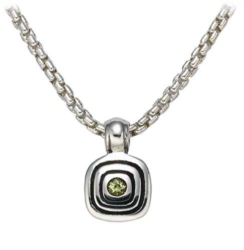 Sterling Silver Pendant w/ Peridot from The Metro Collection, 17\