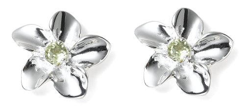 Sterling Silver and Peridot Flower Earrings by Zina