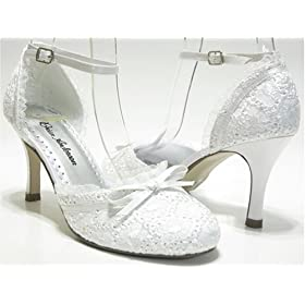 wedding bridal shoes white lace and ribbon