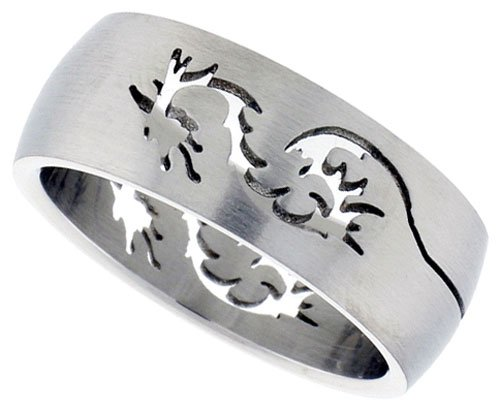 Surgical Steel Dome Band with Dragon Cut-Out