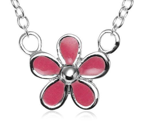 Sterling Silver Children's Pink Enamel Flower Pendant, 14
