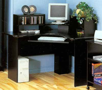 Black Corner Workstation With Keyboard Tray