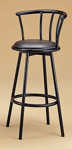 BEAUTIFUL SET OF 2 29 inch H BLACK SWIVEL BAR STOOLS W. BACK