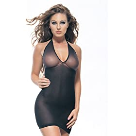 Leg Avenue Opaque Mini Dress with Sheer Halter Top