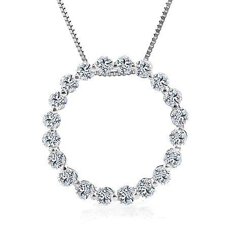 14K White Gold Diamond Circle Pendant 1 Carat Weight