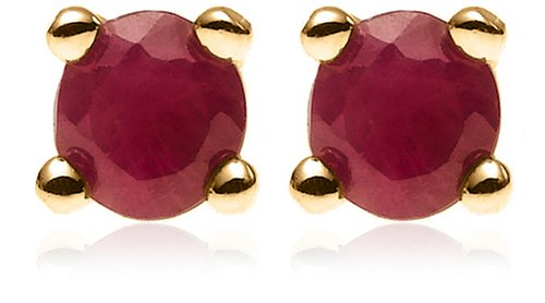 18k Gold Overlay Ruby Flower Pendant and 3mm Stud Earring Set