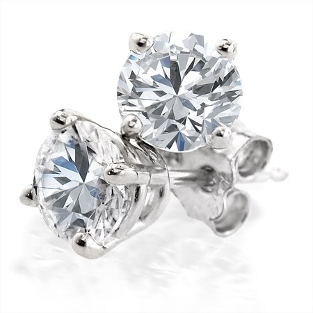 14K White Gold Round Diamond 4-Prong Stud Earrings (1/2ctw, G-H, SI2-I1)