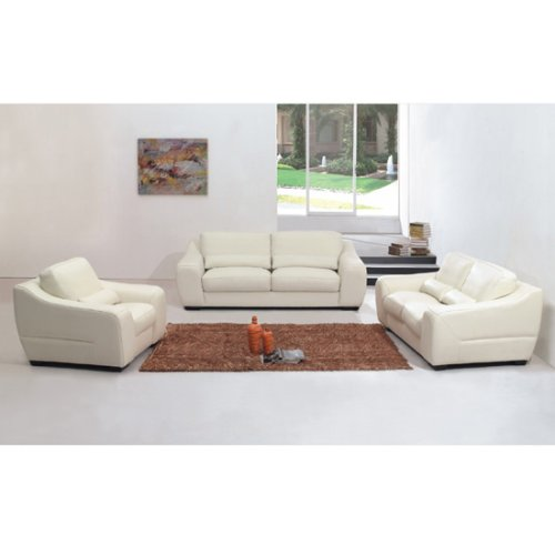 Home Office Furniture Modern Leather White 3pc Living Room Set Free Shipping