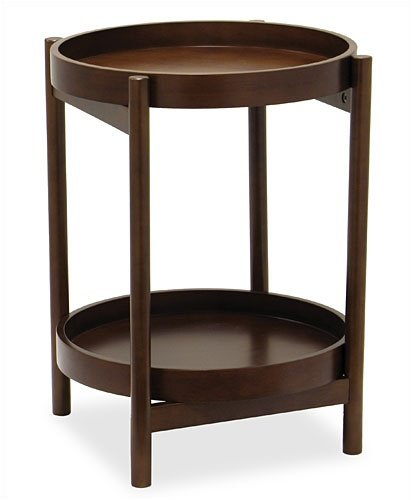 Winsome 94219 2-Tier 18 inch Round Side Table with Removable Trays - Walnut