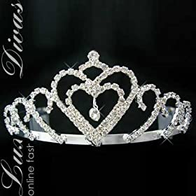 Heart Rhinestone Pageant Prom Bridal Tiara Hair Crown