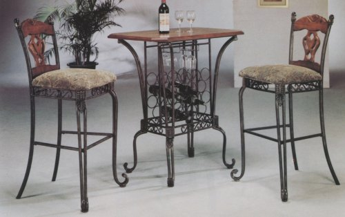 3 PIECE BAR TABLE SET WITH WINE RACK BASE - Bar Table and 2 Bar Chairs