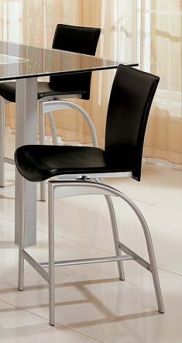 Set of 2 Contemporary Style Black and Silver Finish Bar Stools
