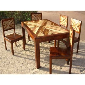 7pc Modern Solid Wood Kitchen Dining Table Chair Set Furniture 