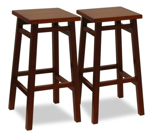 Winsome 94729 Walnut Beechwood BAR STOOL 29 Inch SQUARE SEAT/LEG ASSEM - Set of 2