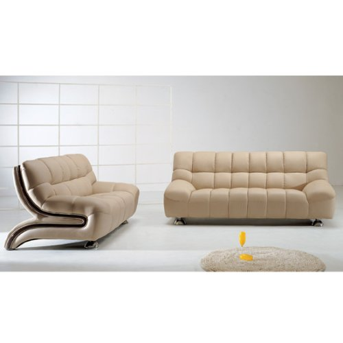 Modern Beige 3 pc Leather Living Room Set, (FREE SHIPPING)