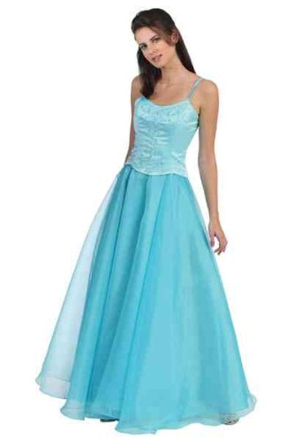 Blue Prom Dresses - Rhinestones Embellished Evening Dress