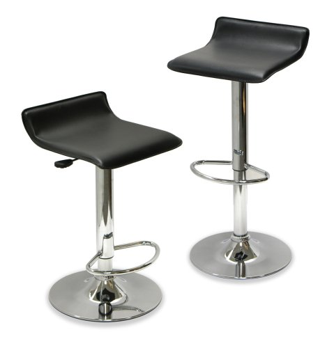 Winsome 93329 Air Lift Faux Leather Stool Black w/Chrome (Set of 2)