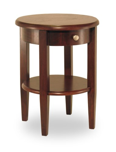 Winsome 94217 Round End Table with Drawer and Shelf - Antique Walnut