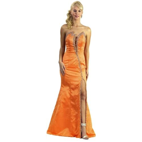 Long Strapless Prom Gown - yellow prom dresses