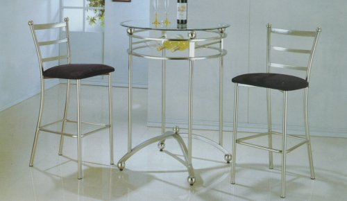 3 PIECE CHROME BAR TABLE SET - Table with Glass Top and 2 Chairs