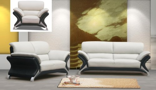 3ps NEW CONTEMPORARY ITALIAN LEATHER SOFA SET-7030BLACK&WHITE