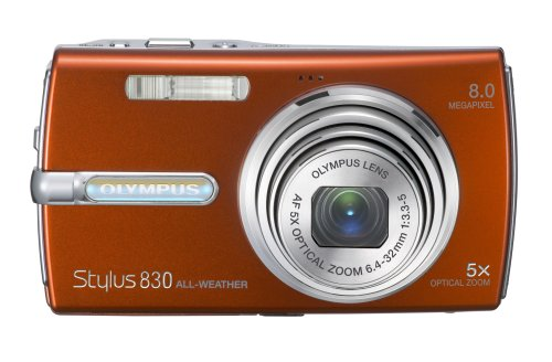 Olympus Stylus 830 8MP Digital Camera with Dual Image Stabilized 5x Optical Zoom (Orange)