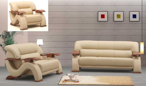 3ps NEW CONTEMPORARY ITALIAN LEATHER SOFA SET-2033BEIGE